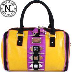 Nicole Lee Kenzie Tribal Boston Bag Long Spike Studded Vivid Color / Color Combination / Color Block Boston Handbag Hollywood Celebrity Adjustable-strap Shoulder Handbag Purse in Yellow Violet Purple and Black Nicole Lee,http://www.amazon.com/dp/B00BRQ9J8K/ref=cm_sw_r_pi_dp_SDNWrb0F24954FB2