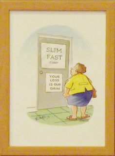 """""""Slim Fast Corporation"""" is composed in watercolour, encased in a beige frame, 24cm x 33cm. For sale at www.art-style-gallery.co.uk"""