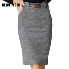 Grey tweed pencil skirt with pockets and belt loops, brown leather belt Skirt Outfits, Dress Skirt, Casual Outfits, Work Skirts, Work Attire, Mode Style, African Fashion, Dress To Impress, Work Wear