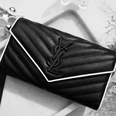 6730930099 YSL Clutch Bag with White Trimmings. What a classic! Ysl Bag