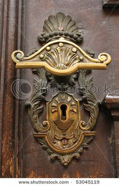 Detail of the door knob and key-hole of Storkyrkan in Stockholm, the place for the royal wedding in june 2010 by Hallbergsf, via ShutterStock Door Knobs And Knockers, Vintage Door Knobs, Antique Door Knobs, Vintage Doors, Antique Hardware, Cool Doors, Unique Doors, Art Nouveau, Door Accessories