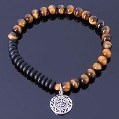Men's Bracelet Healing Gemstone Tiger Eye Black Onyx S925 Sterling Silver 127M #Handmade #MensHealingGemstoneSterlingSilverBracelet