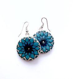 Hearts on Fire - Flat Earrings Fire Heart, Beautiful Things, Hearts, Brass, Hand Painted, Jewellery, Flat, Earrings, Silver