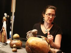 Leslie Gates' artwork is centered on using gourds of all sizes to make pieces.