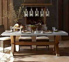 Pottery Barn Abbott Zinc Top Rectangular Dining Table Look for something less - All About Wicker Dining Chairs, Outdoor Dining Furniture, Rustic Furniture, Outdoor Living, Cabin Furniture, Farmhouse Furniture, Wicker Furniture, Porches, Zinc Table