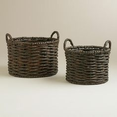 Display individually on a shelf or put our Jessica Basket to work holding anything from magazines to cold weather accessories in the entryway. Laundry Shop, Living Room Update, Market Baskets, World Market, Rustic Christmas, Organization Hacks, Laundry Basket, Basket Weaving, Espresso