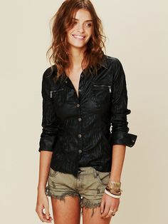 Free People Blank Vegan Leather Buttondown Shirt, $118.00  like the whole look