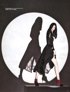 Liu Wen Bond Girls style wears black dress stars in Harper's Bazaar China Magazine November 2015 issue Photoshoot