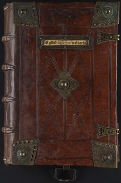 Beautiful cover with lower board cut in for the straps, attached with metal plates. Hasp of a chain on the lower board. Collection of texts on St. Barbara, Northern Belgium, 1470-1480. Beinecke Marston MS 287.
