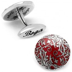 Round Sterling and Red Enamel Zia Cufflinks