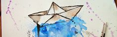 watercolor, painting, art, drawing, pintura, pintura aquarela, barco de papel, barquinho de papel, arte, desenho, desenho com aquarela, aqua...