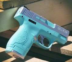 Cerakote Robins Egg Blue with Satin Aluminum is a popular color combination for an everyday carry gun for the ladies.