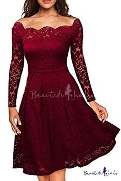 Glamorous Off the Shoulder Long Sleeve Lace Overlay Plain Midi Party Dress