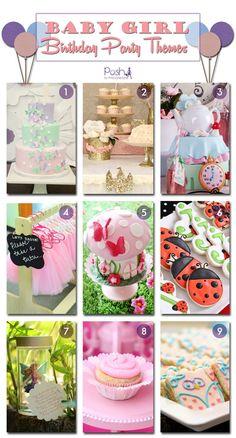 Baby Girl First Birthday Party Ideas, Party Ideas for Girls, Baby Girl Birthday Themes, Birthday theme ideas for girls. Pretty In Pink Birthday, Fairy Birthday, Pixie Birthday, Owl Birthday, Ballerina Birthday, Ladybug Birthday, Alice in Wonderland Birthday