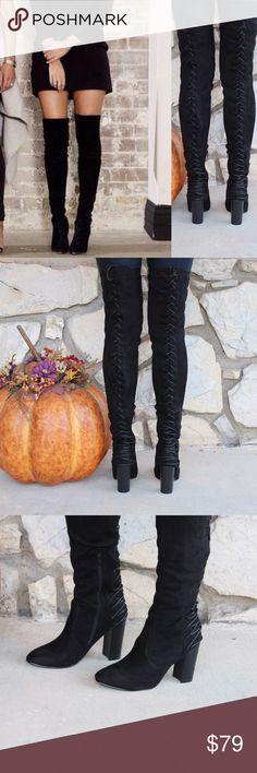 Tight Stretch Suede Lace Up Thigh High Boots ⛄️JUST ARRIVED!⛄️Upgrade your simple boots for a subtle and flirty new look!⛄️ Brand New in Box ⛄️All vegan materials ⛄️ 3.25 inch heel ⛄️ Boot is 23 inches tall/26.25 inches tall including the heel ⛄️ 🔴Limited Quantities 🔴 Feel free to ask questions! Shoes Over the Knee Boots