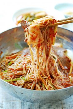 Naengmyeon (Cold Noodles) - Korean Bapsang - My list of the most healthy food recipes K Food, Good Food, Asian Recipes, Healthy Recipes, Oriental Recipes, Healthy Food, Korean Noodles, South Korean Food, Korean Dishes