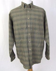 Viyella Shirt Large Wool Blend Cotton Hunter Green Glen Plaid Button Collar A25…