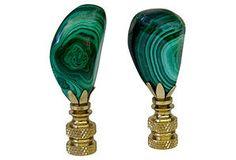 Malachite & Brass  Finials, Pair