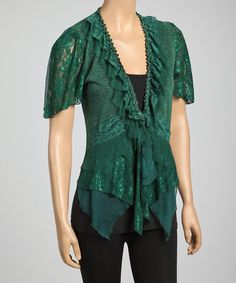 Take a look at this Emerald Lace Trim Silk-Blend V-Neck Top by Pretty Angel on #zulily today! $27 !!