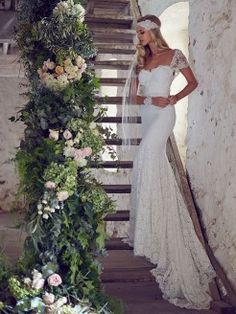 Beautiful Wedding Dresses from Anna Campbell Vintage Inspired Wedding Dresses, Wedding Dress Train, Rustic Wedding Dresses, Lace Mermaid Wedding Dress, Backless Wedding, Best Wedding Dresses, Mermaid Dresses, Wedding Gowns, Trendy Wedding