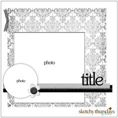 scrapbook layout-circle, square, ribbon, pattern background