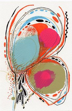 LOVE it! Original Abstract Botanical Painting with Embroidery @ChristinaRomeo $35