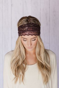 Brown Lace Headband Stretchy Wide Lacy Head Band by ThreeBirdNest