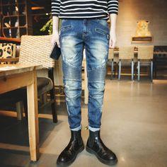 Mens ripped biker jeans skinny blue distressed kanye west designer hip hop streetwear swag pants mens punk denim pants 28-34