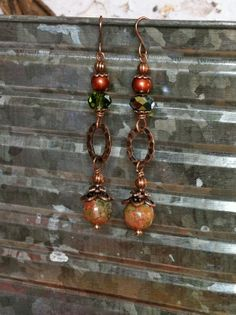 Green Unakite Dangle Earrings with A Copper by SmockandStone, $17.00