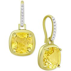 Citrine Cushion Drop Earrings (3-5/8 ct. t.w.) in 18k Gold-Plated... ($22) ❤ liked on Polyvore featuring jewelry, earrings, gold, 18 karat gold earrings, yellow jewelry, 18k gold plated earrings, 18k earrings and sterling silver jewellery
