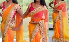Buy online hot pink, yellow and orange colored net designer wedding saree. This beautiful designer wedding saree is prettified with embroidered and patch border. Shop online now! Bollywood Sarees Online, Buy Sarees Online, Bollywood Fashion, Designer Sarees Collection, Latest Designer Sarees, Beautiful Saree, Beautiful Dresses, Latest Indian Saree, Party Sarees