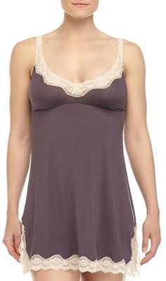 Eberjey Lady Godiva Lace-Trimmed Chemise, Pebble http://www.movetivate.net/r.php?link=1965 #fitness #sexy #hot #motivation #progress