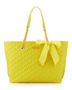 Heart Quilted Tote, Yellow - Last Call by Neiman Marcus