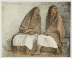 Dos Mujeres Sentadas con rebozos; Impresiones de Egipto; Tres mujers de pie, II (3 works) by Francisco Zúñiga