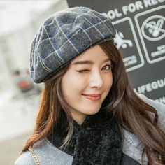Warm gray plaid beret hat for women vintage winter wool hats