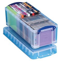 Really Useful Boxes Plastic Storage Box, Liters, 6 1 - x x 17 1 - Clear Cd Storage Box, Plastic Box Storage, Photo Storage, Craft Storage, Storage Drawers, Storage Containers, Storage Ideas, Seed Storage, Cd Organization