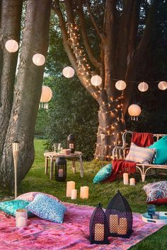 Festival Themed Party, Festival Garden Party, Party Garden, Outdoor Fairy Lights, Garden Fairy Lights, Garden Lanterns, Garden Candles, Outdoor Candle Lanterns, Summer Party Decorations