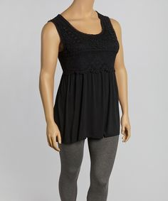 Look at this Black Crochet Sleeveless Tunic - Plus on #zulily today!