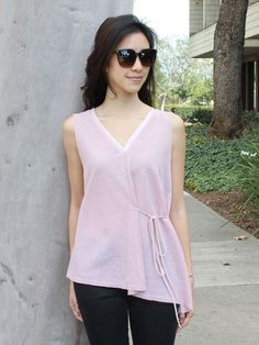 Sheer Pink Sleeveless Leaf Print Top