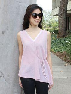 Sheer Pink Sleeveless Leaf Print Top
