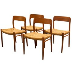 Set of Four Niels Moller Model 75 Teak Dining Chairs with Rush Seating | See more antique and modern Dining Room Chairs at http://www.1stdibs.com/furniture/seating/dining-room-chairs