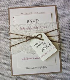Lace Wedding Invitation, Rustic Wedding Invitation,Vintage wedding Invitation  Features beautiful vintage design and lace wrapped around the