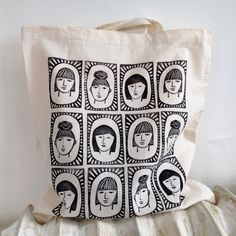 This listing is for one lightweight tote bag made of 100% unbleached cotton, hand printed with the Three Sisters pattern in black ink. The bag is