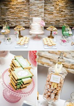 pink, mint and gold dessert table