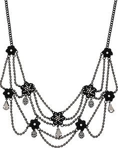 Betsey Johnson black flower crystal necklace.