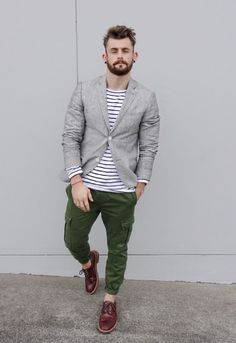 Shop this look on Lookastic: https://lookastic.co.uk/men/looks/grey-blazer-white-and-navy-long-sleeve-t-shirt-green-cargo-pants/19510   — White and Navy Horizontal Striped Long Sleeve T-Shirt  — Grey Linen Blazer  — Green Cargo Pants  — Burgundy Leather Brogues