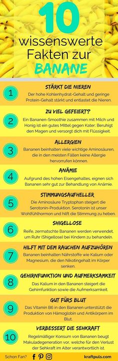 Bananen-Smoothie gegen Kater, mit dem Rauchen aufhören, das und weitere Fakten zur Banane. #infografik #gesund #leben
