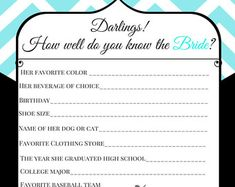 3 Pack of Bridal Game Templates  How Well by TantalizingTemplates