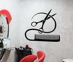 Vinyl Decal Barber Tools Wall Stickers Hairstyle Hair Stylist Hair Salon Beauty Decor (ig2387)