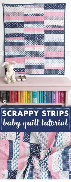 Easy Scrappy Strips Baby Quilt Tutorial & Quilt Pattern Learn how to make an easy strip quilt with this free scrappy strips baby quilt tutorial. A free quilt pattern. Free Baby Quilt Patterns, Strip Quilt Patterns, Baby Quilt Tutorials, Strip Quilts, Quilting Tutorials, Quilt Blocks, Quilting Patterns, Free Pattern, Tatting Patterns